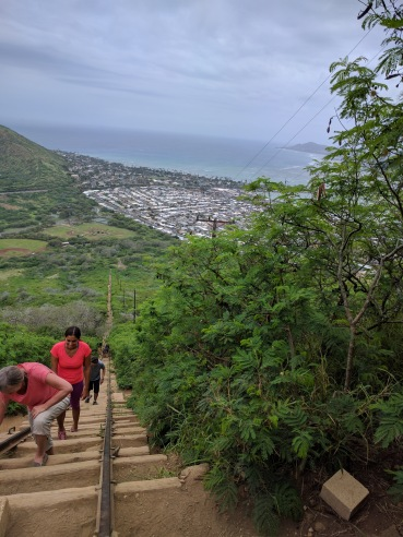 My Mom and Wife climbing Koko Head