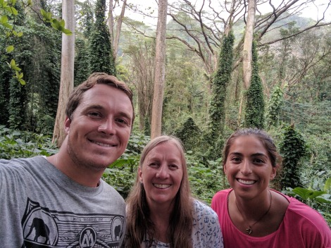 My mom, wife and I on a trail to Manoa Falls